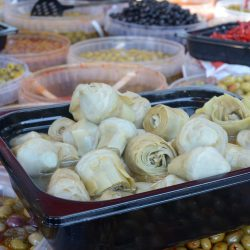 Pickled artichokes platter