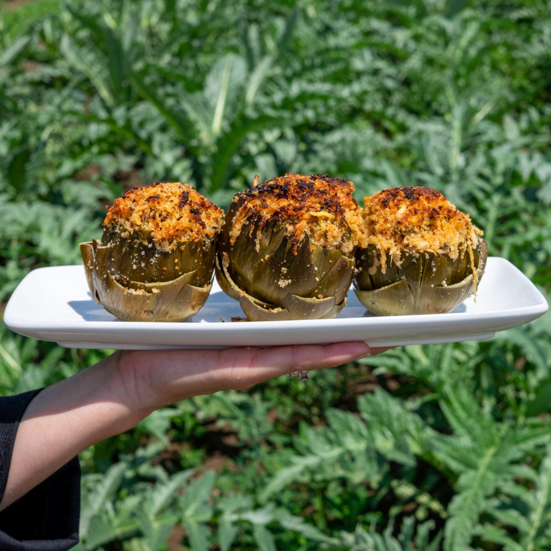 herb and cheese stuffed artichokes